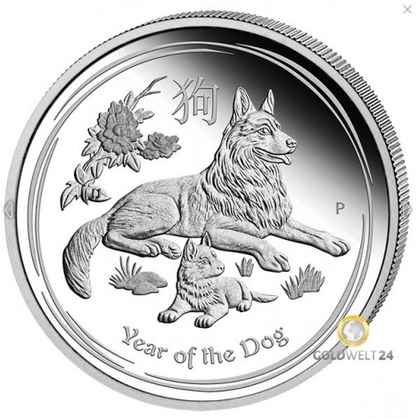 1 Unze Silber Lunar II Hund 2018