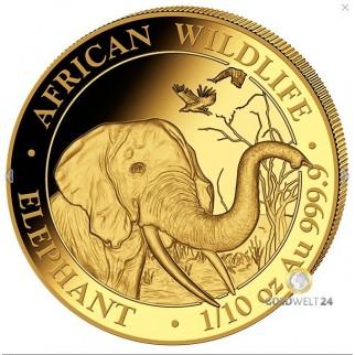 1/10 Unze Gold Somalia Elefant 2018