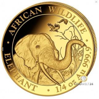 1/4 Unze Gold Somalia Elefant 2018
