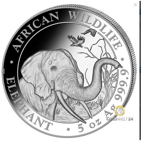 5 Unzen Silber Somalia Elefant 2018