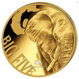 "5 Unzen Gold ""Big Five"" Elefant 2018 Polierte Platte"