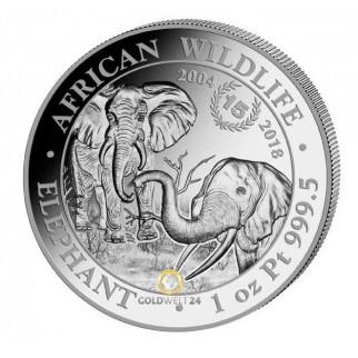 Platin Somalia Elefant 1 Unze Jubiläum