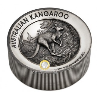 2 Kilo Silber Känguru Antik Finish 2019