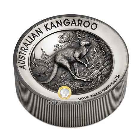 2 Kilo Silber Känguru Antik Finish 2019