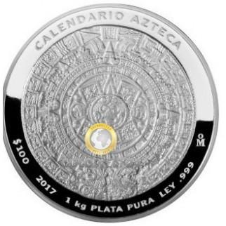 1 kg Silber Atztekenkalender (Polierte Platte)
