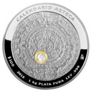 1 kg Silber Atztekenkalender 2015 (Polierte Platte)