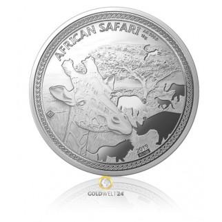1 kg Silber African Safari Giraffe (Polierte Platte)
