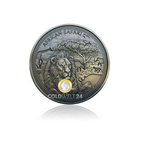 1 kg Silber African Safari Löwe Antik Finish