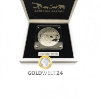 1 kg Silber African Safari Löwe (Polierte Platte)