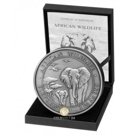 1 kg Silber Somalia Elefant 2015 Antik Finish