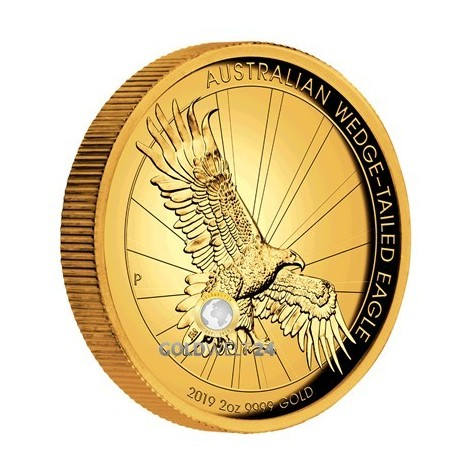 2 Unzen Gold Wedge Tailed Eagle 2019 High Relief PP