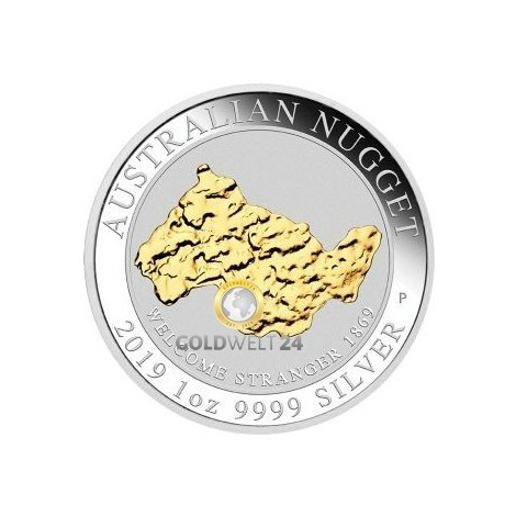 1 Unze Silber Nugget (gilded) 2019