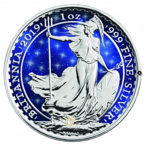 1 Unze Silber Britannia Glowing Galaxy 2019