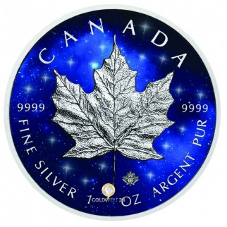 1 Unze Silber Maple Leaf Glowing Galaxy 2019