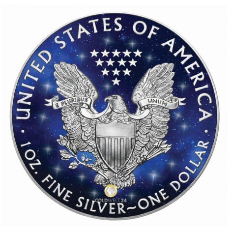 1 Unze Silber American Eagle Glowing Galaxy 2019
