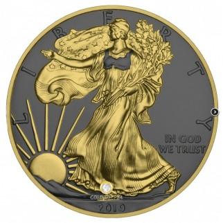 1 Unze Silber American Eagle Golden Ring 2019