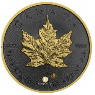 1 Unze Silber Maple Leaf Golden Ring 2019