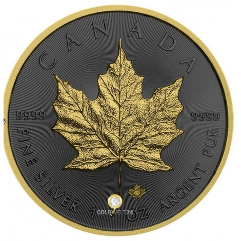 1 Unze Silber Maple Leaf Golden Ring 2019