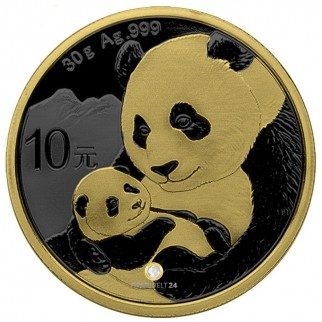 30g Silber China Panda Golden Ring 2019
