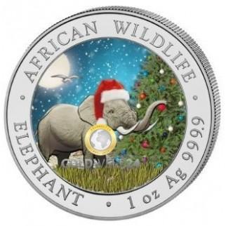 1 Unze Silber Somalia Elefant 2018 (in Schneekugel coloriert)