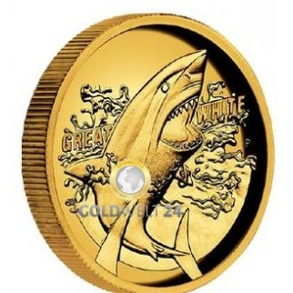 1 Unze Gold Great White Shark 2019 High Relief