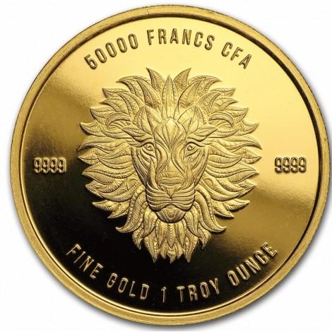 1 Unze Gold Mandala Löwe Tschad 2018