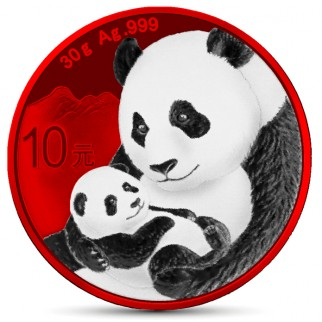 1 Unze Silber Wiener China Panda Space Red 2019