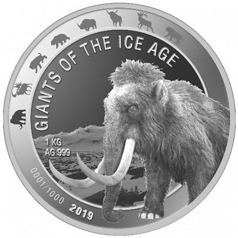 1 Kilo Silber Giganten der Eiszeit - Wollmammut 2019