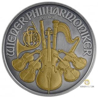 1 Unze Silber Wiener Philharmoniker Antik Gold 2019