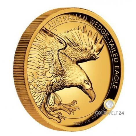 1 Unze Gold Wedge Tailed Eagle 2020 High Relief PP