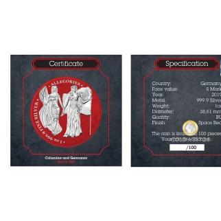 1 Unze Silber 5 Mark The Allegories Britannia & Germania Space Red 2019