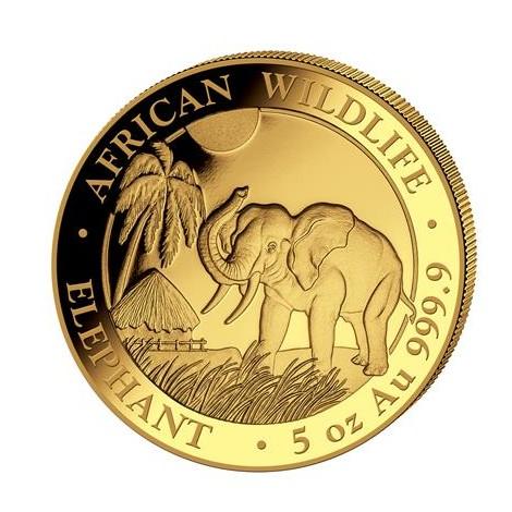 5 Unzen Gold Somalia Elefant 2017