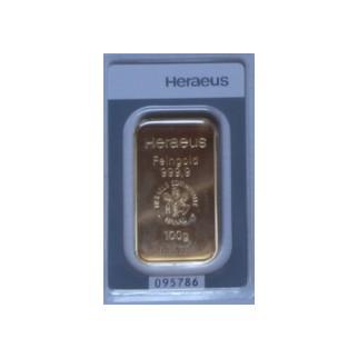 100g Goldbarren Heraeus