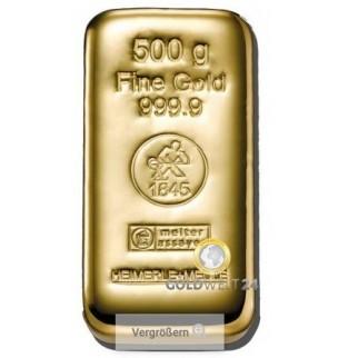 500g Goldbarren Gussbarren Heimerle+Meule