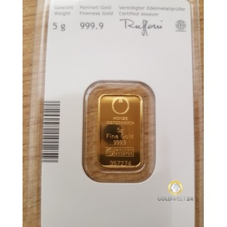 5 g Goldbarren Kinebar Münze Österreich AG