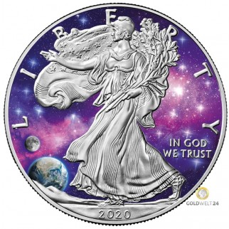 1 Unze Silber American Eagle Glowing Galaxy 2020