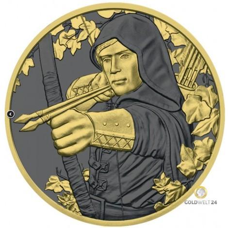1 Unze Silber Robin Hood Golden Ring 2019