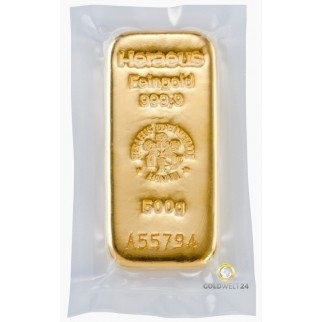 500g Goldbarren Heraeus -gegossen-