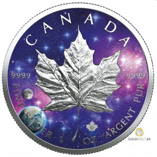 1 Unze Silber Maple Leaf Glowing Galaxy 2020