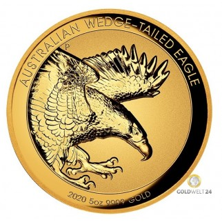5 Unzen Gold Wedge Tailed Eagle 2018 High Relief PP