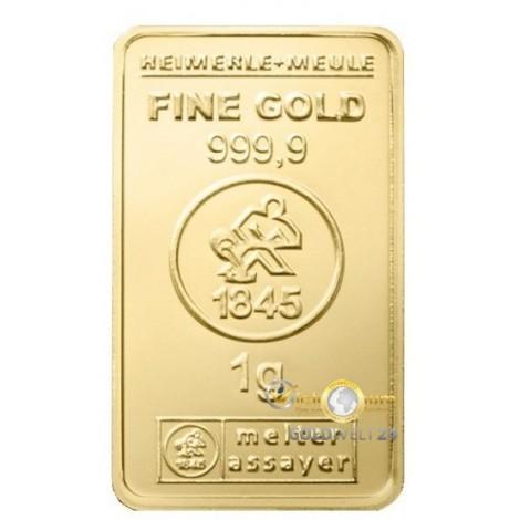 1g Goldbarren Heimerle+Meule LBMA