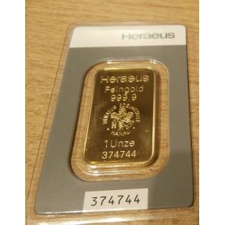 1 Unze Goldbarren Heraeus