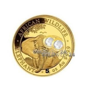 5 Unzen Gold Somalia Elefant 2021 PP