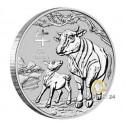 1/2 Unze Silber Lunar III Ochse 2021