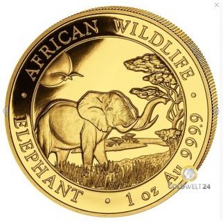 1 Unze Gold Somalia Elefant 2019