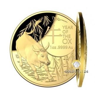 1 Unze Gold Lunar RAM Ochse 2021 PP