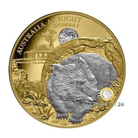 1 Unze Gold Wombat Australia at night 2021 PP