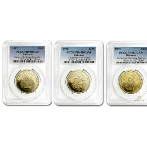 PCGS Set 3x47,54g 250 Dollars Gold Columbus Proof 1987-1989