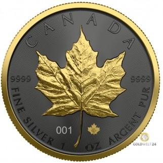 1 Unze Silber Maple Leaf Golden Ring 2021