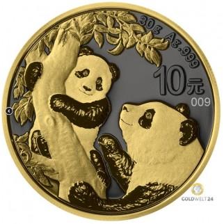 30g Silber China Panda Golden Ring 2021